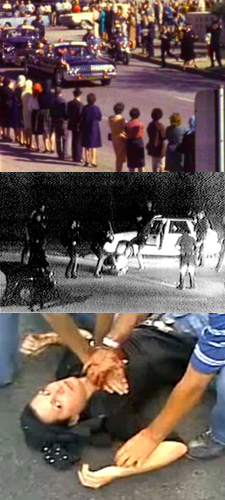 Montage of images from Zapruder film, Rodney King tape and Neda's death